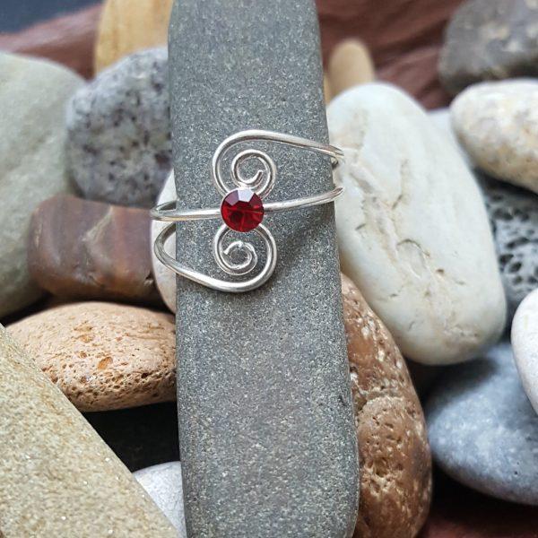 Сребърен пръстен за крак Рубин