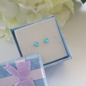 Сребърни обеци Куатро Аквамарин с кристали Swarovski Crystals
