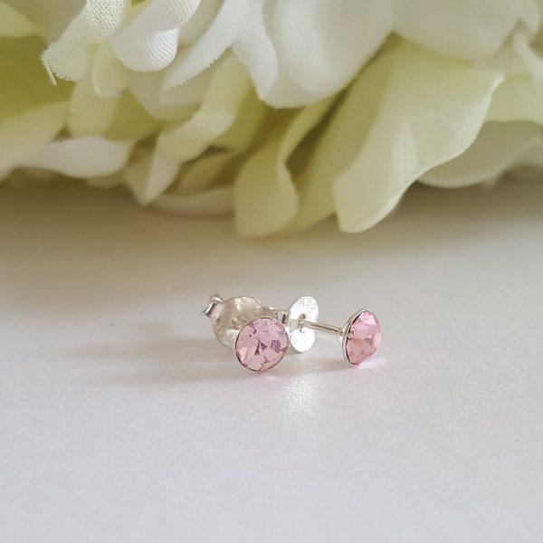 Сребърни обеци Куатро Лайт Розе с кристали Swarovski Crystals
