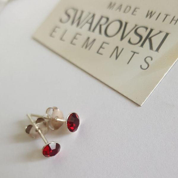Сребърни обеци Куатро Сиам Ред с кристали Swarovski Crystals