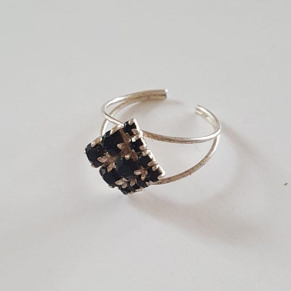 Сребърен пръстен за крак Ромб Black