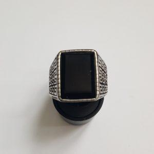Масивен мъжки пръстен стомана с оникс